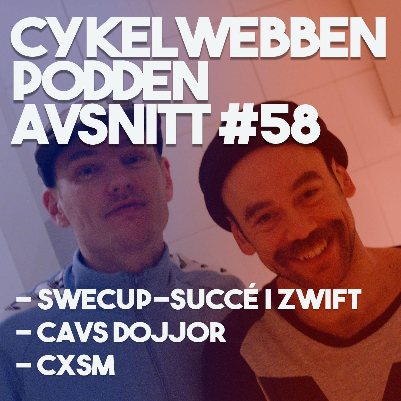 Omslagsbild för Cykelwebbenpodden avsnitt 58 där vi pratar Zwift, Cykelkross, Gravel och massa annat.